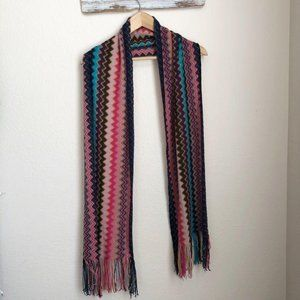 Forever 21 Chevron Scarf in Blue, Pink & Black